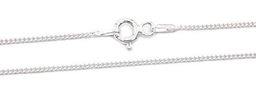 Panzerkette 925 Sterling Silber 1mm breit 45cm lang rhodiniert Silberkette Halskette Kette