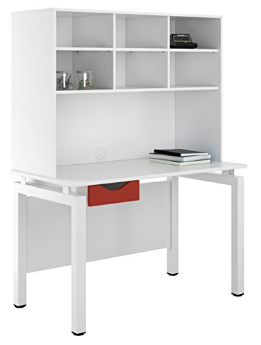 UCLIC Kit Out My Office Bench Desk Cupboard with Single Drawer and Open Upper Storage, Metal, Red, 1200 mm