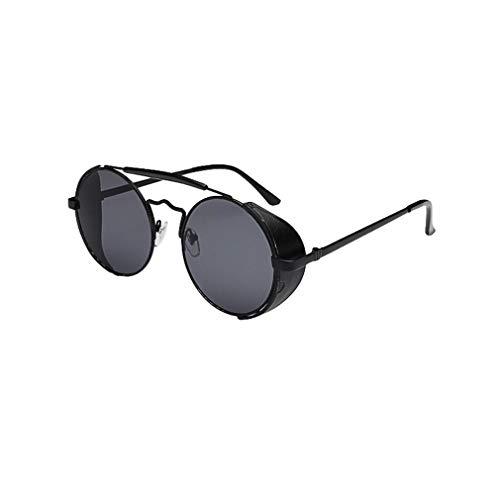 Erwachsene Sonnenbrille Damen Herren 55 mm Runde Flach Linsen Twin-Träger Metallrahmen Brille