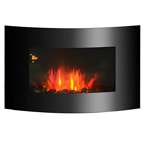 Chimenea Eléctrica con Calefacción y Llama LED Decorativa - Acero Inoxidable -...
