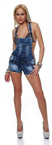 5803 Fashion4Young Damen Latzhose Hotpants Short kurze Hose Hot Pants latzjeans Latzshorts