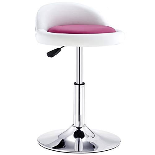 Dreh- & Arbeitshocker Stühle Büromöbel Drehstuhl Bürostuhl Barhocker Schönheitsrollstuhl 360 ° Rotation PU-Leder hebbare Rückenlehne Hochstuhl Galvano-Rahmen Drehstuhl
