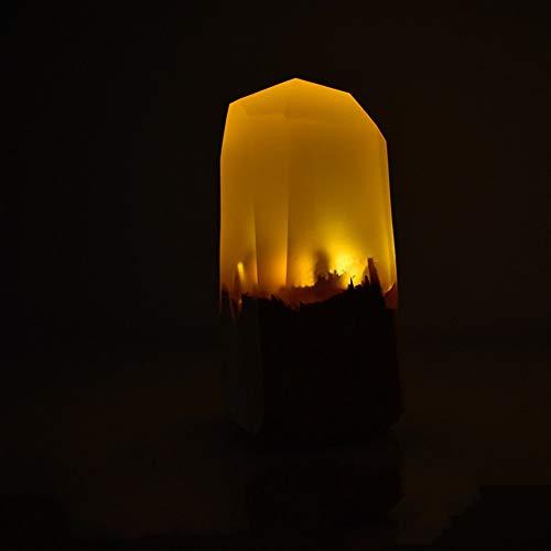 Lqz Handmade Gifts_Solid Holz Nachtlicht Harz Führte Tischlampe Geschenk Nachtlicht, Gelb [Kein Netzteil], 1W - Solid-harz