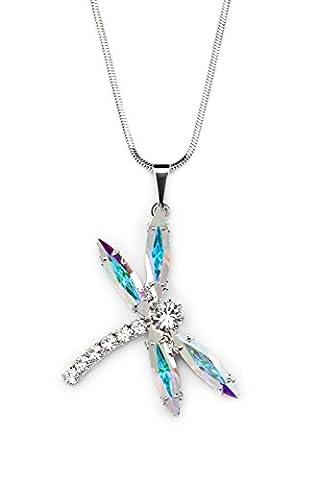 Passion Obscure Damen Halskette mit Anhänger Navette DragonFly mit Swarovski Elements Kristalle rhodiniert AB 40 cm Kette