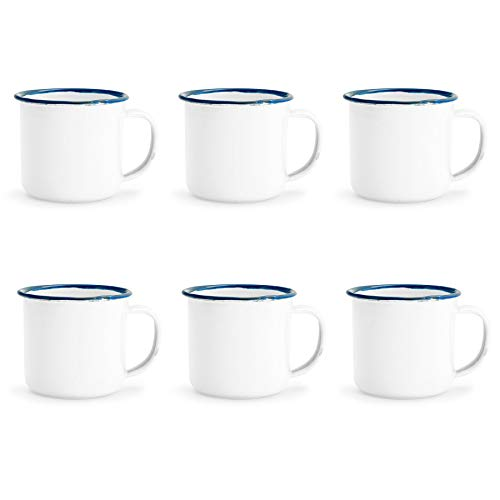 Rink Trinken weiße Emaille-Espresso Kaffeetasse - 150ml - Blau-Ordnung - Packung mit 6