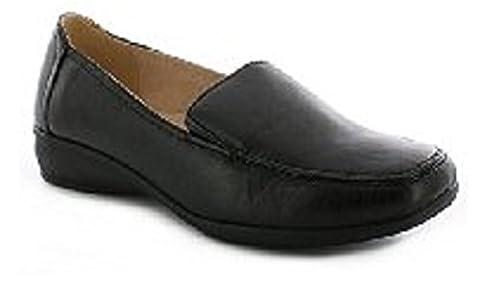 Damen, flache Arbeitsschuhe mit Keilabsatz, Lederfutter, weite Passform, schwarz - mattes schwarz - Größe: 42