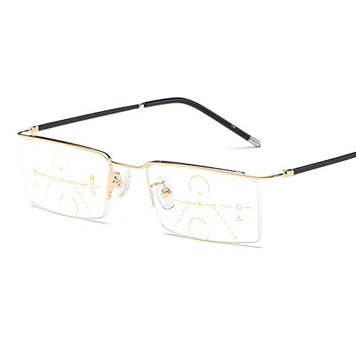 GLASSES Ms. Anti-Müdigkeit Progressiv Lesebrille, Intelligenter Zoom Fern- und Nahnutzung Presbyopische Brille, TR90 Halbrahmen HD Lesebrille Schutzbrillen, Geeignet für ältere Menschen