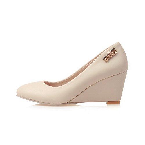 VogueZone009 Damen Spitz Zehe Ziehen Auf Pu Leder Rein Mittler Absatz Pumps Schuhe Cremefarben