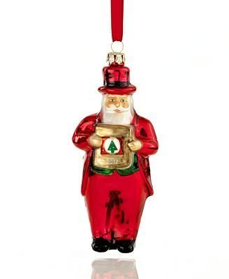 Macy's Yes Virginia 2012 Glass Santa Claus Christmas Ornament by Macy's