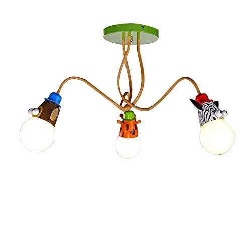 Beatie111 Suspension Luminaire Enfant Lustre 3 Lampe - Lustre Chambre Enfant avec Girafe Singe Et Motif Zébré Abat-Jour De Suspension pour Fille Garcon