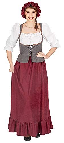 Andrea Moden Mittelalter Magd Jonata Kostüm für Damen - Dunkelrot/Grau Gr. 48/50