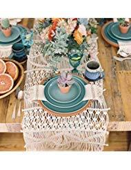 Flber Makramee Tischläufer handgewebte Boho Hochzeit Tischdekoration Betten Decke, 35,1x 299,7cm