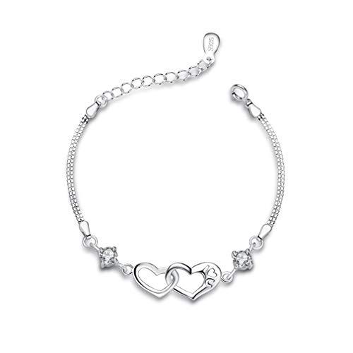 Bo&Pao 925 Sterling Silber Herz neben Herz Damen Armband mit Gravur I Love U, 16 + 3,5 cm Verstellbare Platinierte Armkette