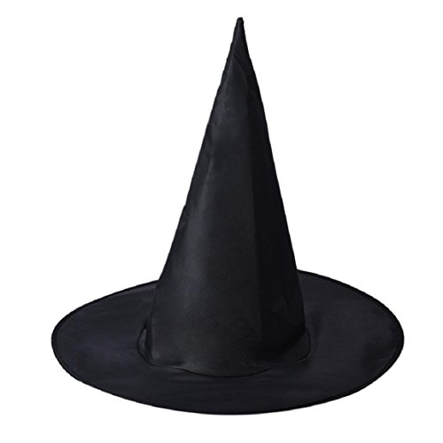 OverDose Erwachsenen Frauen Schwarze Hexe Hut für Halloween-Kostüm-Zusatz (1 Stück, Schwarz) (Frauen Schwarze Halloween-kostüme)