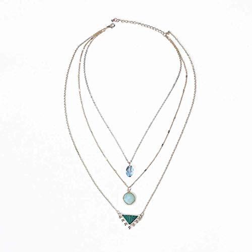 LAJICEF Halskette Kristallglas-natürliche Edelstein-Anhänger Vergolden Kette Multi-Layer-Frauen Kreative dreiteiliger Schmuck