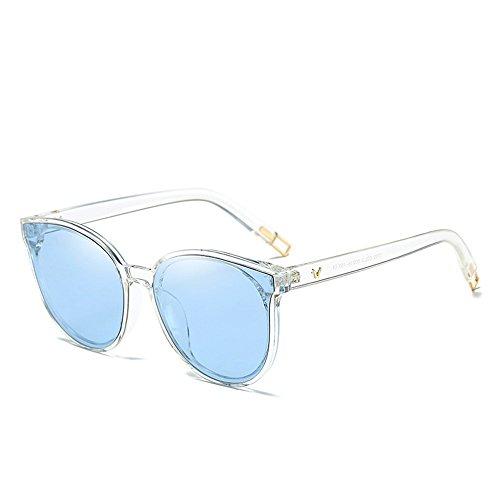 QDE Sonnenbrillen Frauen Farbe Flat Top Sonnenbrillen Elegante Männer Twin Beam Übergroßen Sonnenbrille Uv400, E