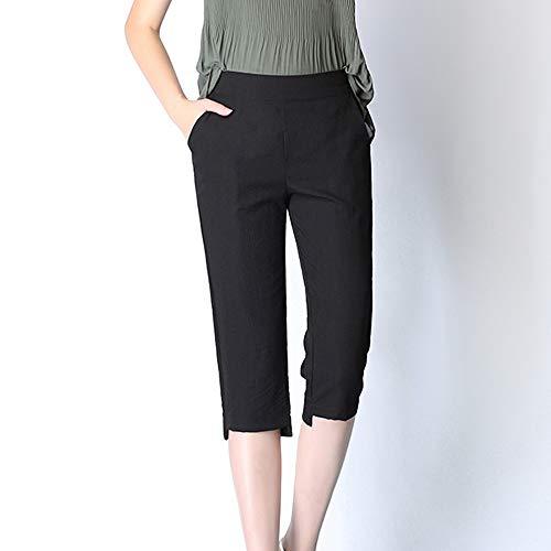 Seide-leinen-hose (COOOOEENS Neue Frauen Sommer Schwarze Farbe dünne Kurze Hosen EIS Seide Baumwolle Leinen Bleistift Hosen sowie Größe 4XL 5XL Hosen)