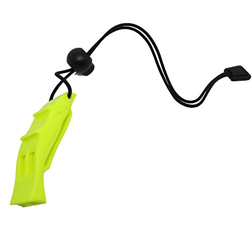 Scuba Choice Diving Dive Orange Safety Dolphin Shape Loudest Whistle with Lanyard and Clip, Yellow