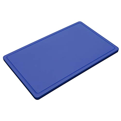 METRO Professional Schneidebrett | 53 x 32,5 x 2 cm | feuchtigkeitsabweisend | hochdichtes Polyethylen | spülmaschinengeeignet | HACCP | Schneidplatte | Saftrille | für gewerblichen Einsatz (Blau)