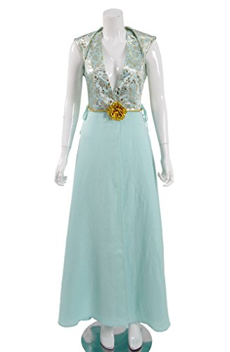 Daenerys Dragon Kostüm Targaryen - Mail Store Frauen Tiefem V-Ausschnitt Fancy Kleid Halloween Party Cosplay Kostüm (XXL, Blau)