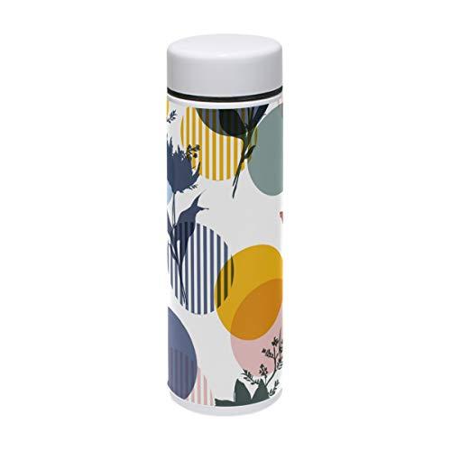 Lafle - Taza térmica pequeña de silicona con tapa de rosca (acero inoxidable, 220 ml), diseño de lunares, multicolor