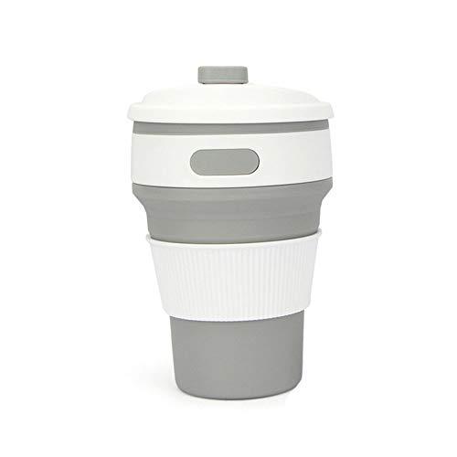 ROCCY Faltbarer Kaffeebecher, Reisebecher Kaffee Becher 350ml, Portable Zusammenklappbare Wasser Tasse mit Deckel,3 Einstellbare Größen Silikon-Reisebecher, BPA-frei,für Outdoor/Camping/Reise,Gray