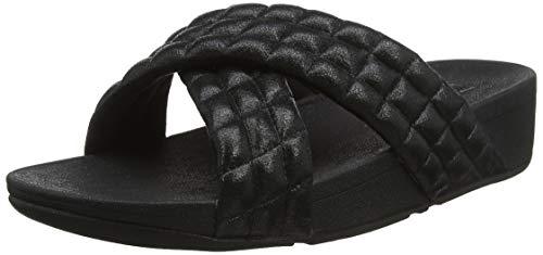 FitFlop Damen Lulu Padded Shimmy Suede Slides Sandalen, Schwarz (All Black 090), 41 EU -