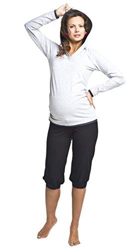 Bequeme Schwangerschaftshose, Baumwolle, Modell: FITNESS knielang, schwarz, L