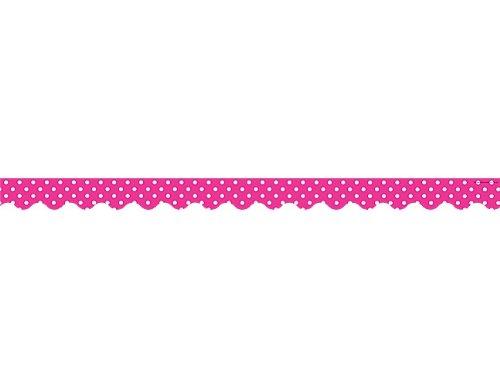 URCES Hot Pink Polka Dots Scalloped Border Trim (5209) ()