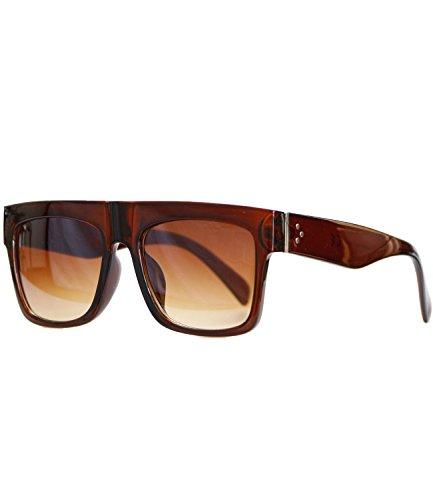 caripe moderne Herren Damen Desinger Retro Vintage Sonnenbrille rechteckig flach (LS6918 - brauntransparent - braun Verlauf)