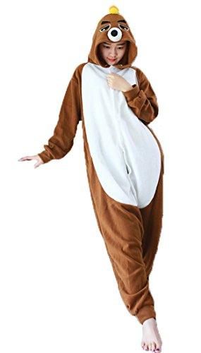 Honeystore Unisex Maulwurf Kostüm Erwachsene Tier Jumpsuits Onesie Pyjamas Nachthemd Nachtwäsche Cosplay Overall Hausanzug Fastnachtskostüm Karnevalskostüme Faschingskostüm Kapuzenkostüm M