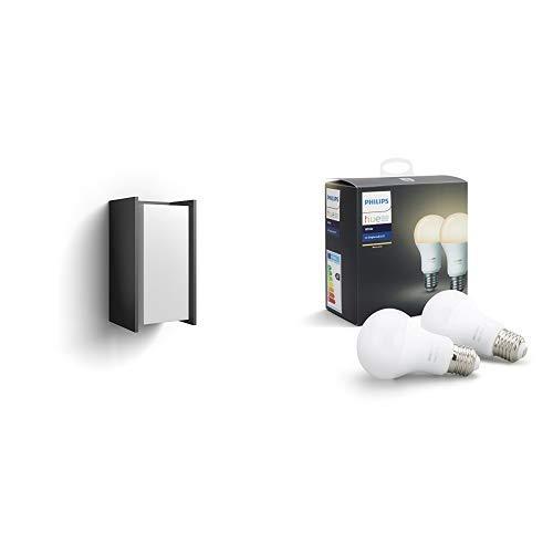 Philips Hue LED Wandleuchte Turaco für den Aussenbereich, dimmbar, warmweißes Licht, steuerbar via App, kompatibel mit Amazon Alexa (Echo, Echo Dot) & Philips Hue White E27 LED Lampe Doppelpack