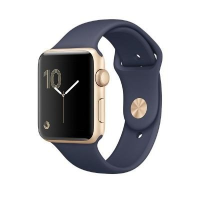 Apple Series 2 Aluminium Case Smartwatch with Sport Band (38 mm, Gold Aluminium Case with Midnight Blue Sport Band)