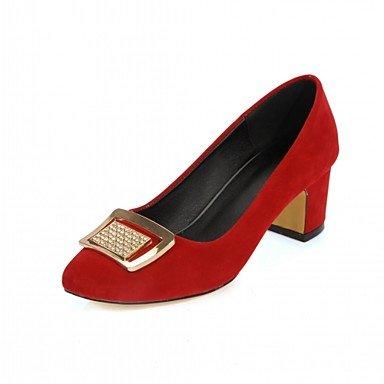 Les talons des femmes Printemps Automne Bureau similicuir Confort & Carrière Partie & Robe de Soirée Talon Noir Jaune Rouge Beige Red