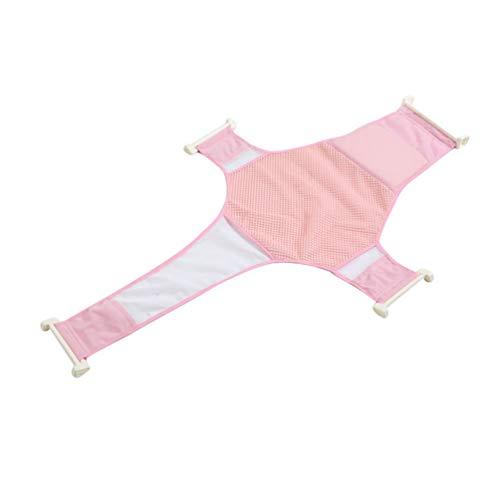 LINNUO Bagnetto Supporto Sedile Baby Bath Seat Sling Neonato Doccia Mesh per Vasca da Bagno Regolabile Antiscivolo per Vasca da Bagno (Pink)