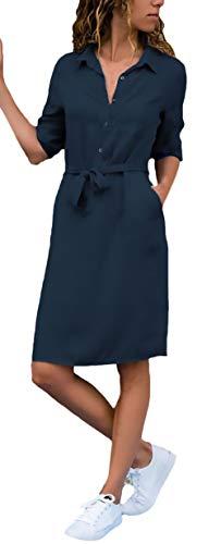 Blusekleid Damen Elegant Knielang Freizeitkleider 3/4 Ärmel Revers Loose Mode Hemdblusenkleid Jungen Chic Sommerkleider Unifarben Mit Gürtel (Color : Navy Blue, Size : M)