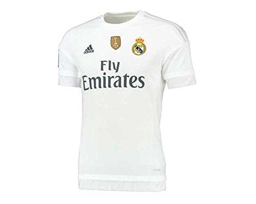 adidas 1ª Equipación Real Madrid CF 2015/2016 - Camiseta oficial con la insignia de campeón del mundo para hombre, color blanco, talla XXL