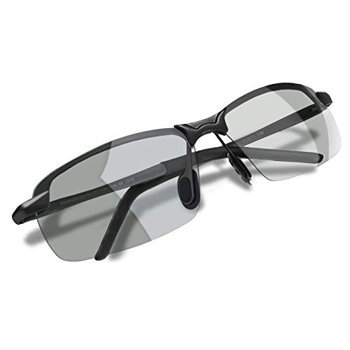 WHCREAT Herren Photochromatisch Polarisierte Sonnenbrille für Fahren Draussen Sport mit Ultraleicht AL-MG Rahmen - Schwarz Rahmen Grau Linse