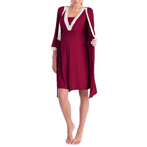 Zhhlinyuan Damen Umstandskleid Maternity Kleid Fashion Stillen Kleid - Ladies Schwangerschafts Kleid Gemütlich Robe Große Größe
