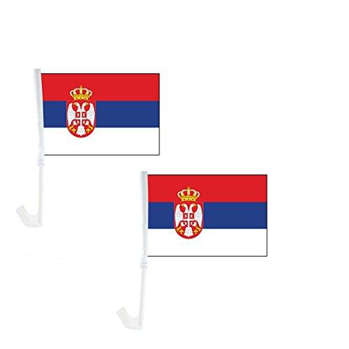 Sonia Originelli 2er Set Auto Flagge Fahne WM Länder Fußball Fan Farbe Serbien
