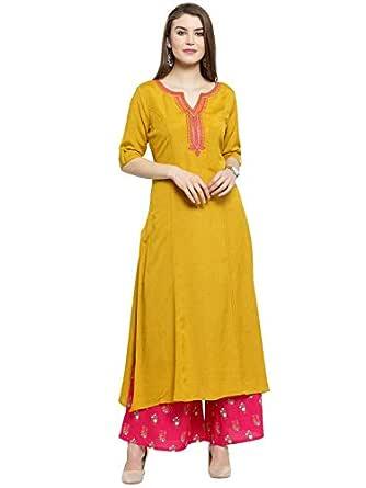 Varanga Women's Rayon Straight Salwar Suit Set