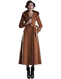 KHAISET Abrigo de Lana con Cuello de Piel de Mapache más Grande Abrigo de Lana con