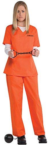 auen Inmate Häftling Karneval Komplett Kostüm, Orange, M/L (Häftling Kostüm Frauen)
