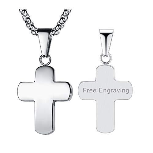 FaithHeart Herren Halskette mit Gravierte Buchstaben Edelstahl, 925 Silber Kreuz Anhänger Kette mit Gravur für Sie