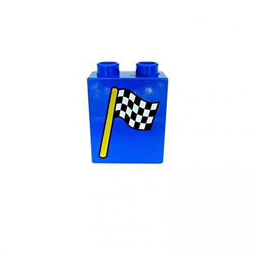 1 x Lego Duplo Motivstein blau 1x2x2 bedruckt kariert Fahne Flagge Auto Rennen Bild Bau Stein 4066pb119