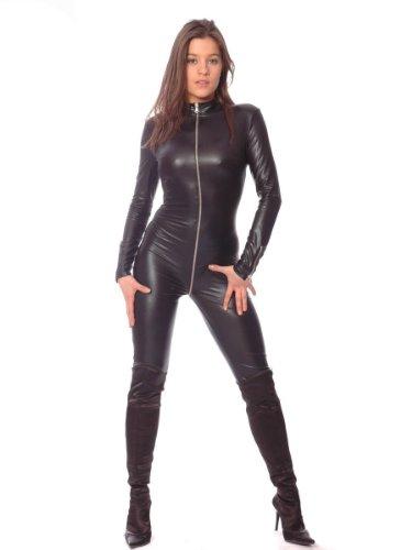 Patrice Catanzaro C03902 Wetlook Kunstleder Overall Wetlook Overall Sweety Catsuit Leder Anzug, Farbe:Schwarz, ()