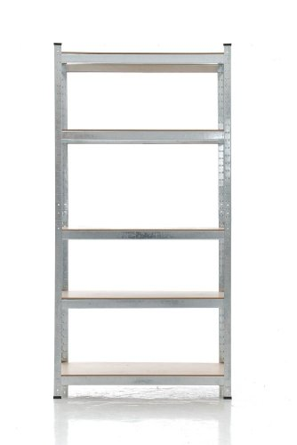 CLP Schwerlastregal, Metall, verzinkt, Tragkraft 875 kg, 5 Böden, Lagerregal Farbe + Höhe wählbar silber, 180 x 90 x 40 cm - 4