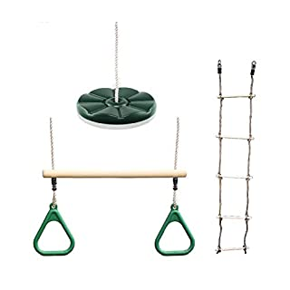 HIKS Rope ladder, Green Trapeze and Button Swing Bundle Available in 5 colours