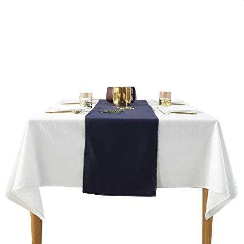 ShineMoon Home Tischdecke für Küche, Esszimmer, quadratisch/rechteckig, Baumwolle Tischdecken, Outdoor, Hochzeit, Party, Dekoration, Tischdecken, weiß, Square 140x140cm/55x55in -