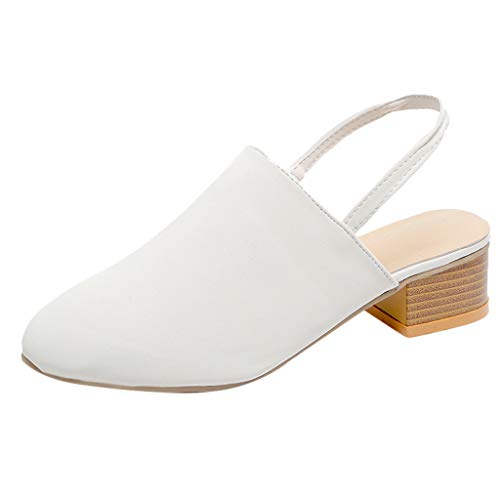 Geilisungren Damen Slingback Pumps Sandalen mit Blockabsatz und Fesselriemchen Frauen Modische Leopardenmuster Gummiband Slip On Party Schuhe Arbeits Berufsschuhe